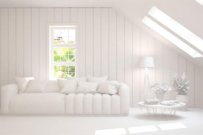 salón blanco minimalista estilo arquitectónico